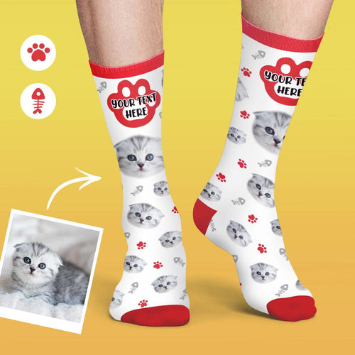 Custom Face Cat Photo Socks Colorful Candy Series Soft And Comfortable Cat Socks