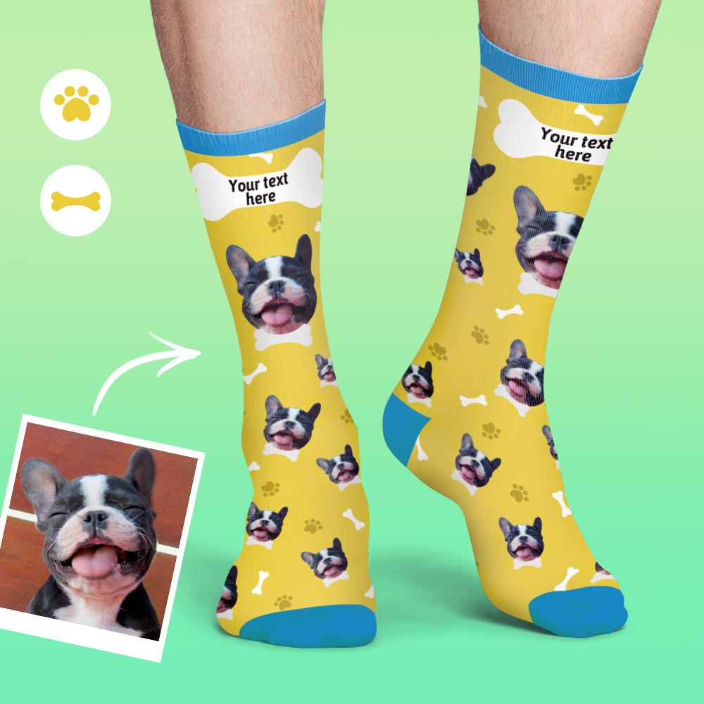 Custom Face Socks Colorful Candy Series Soft And Comfortable Dog Socks - Yellow