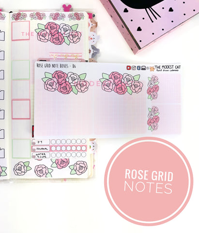 Pink Rose Grid Notes (B6)