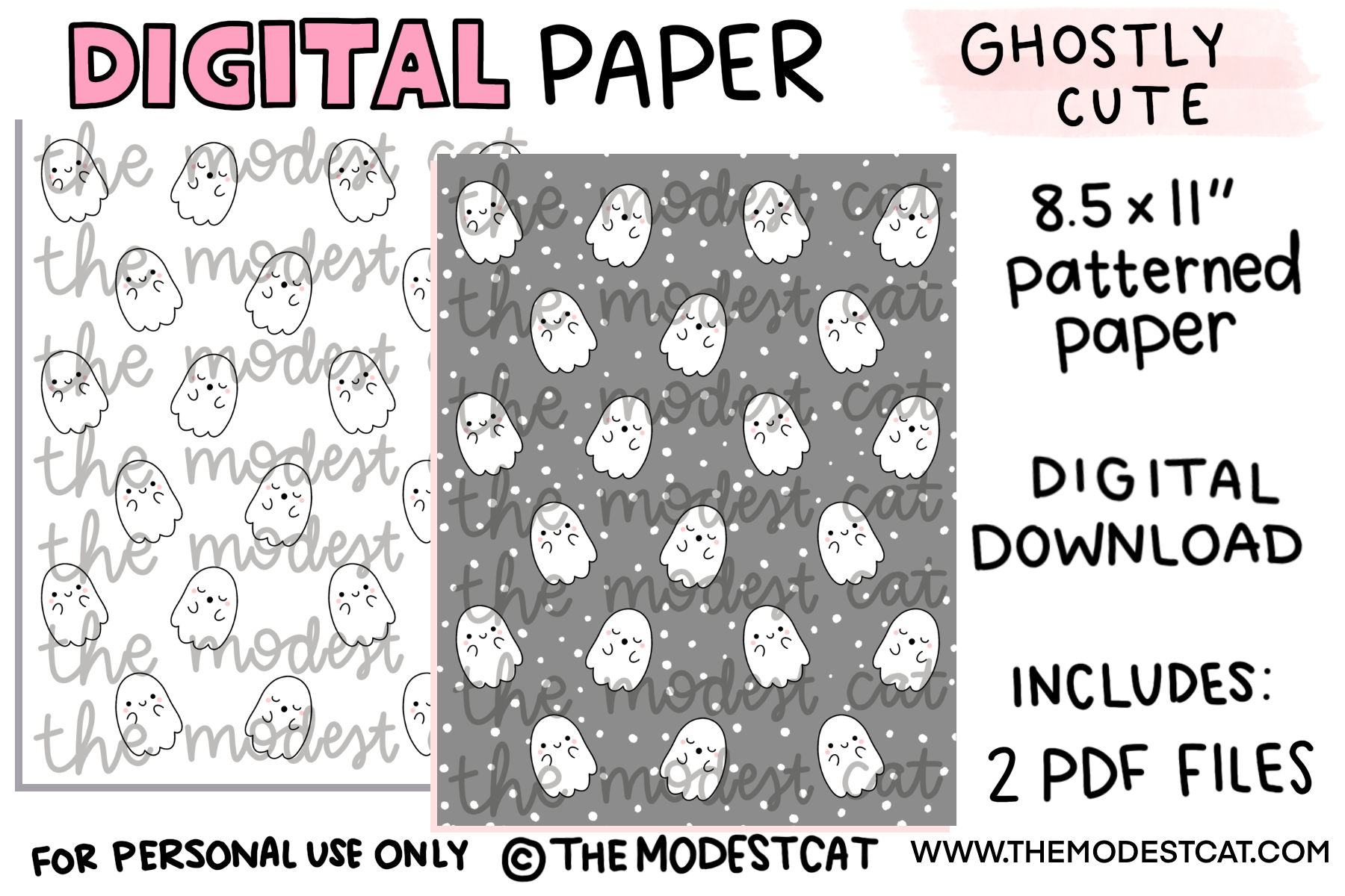 Ghostly Cute Digital Paper - Instant Digital Download