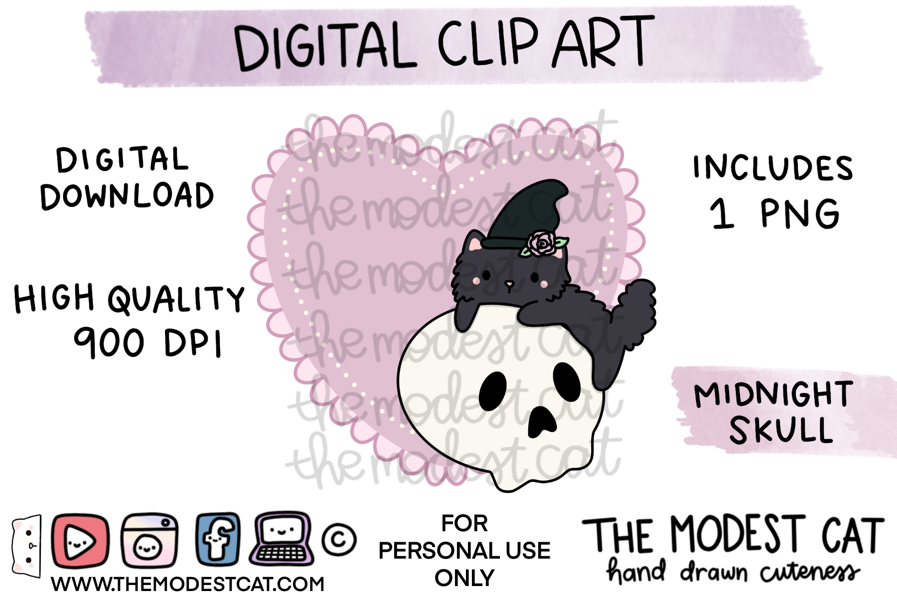 Midnight Skull Doily - Digital Clip Art