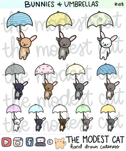 Bunny & Umbrella stickers (R103)