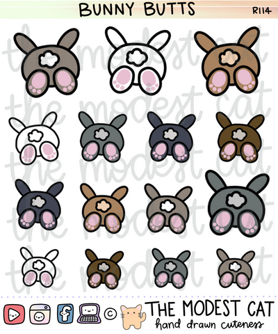 Bunny Butts Stickers (R114)
