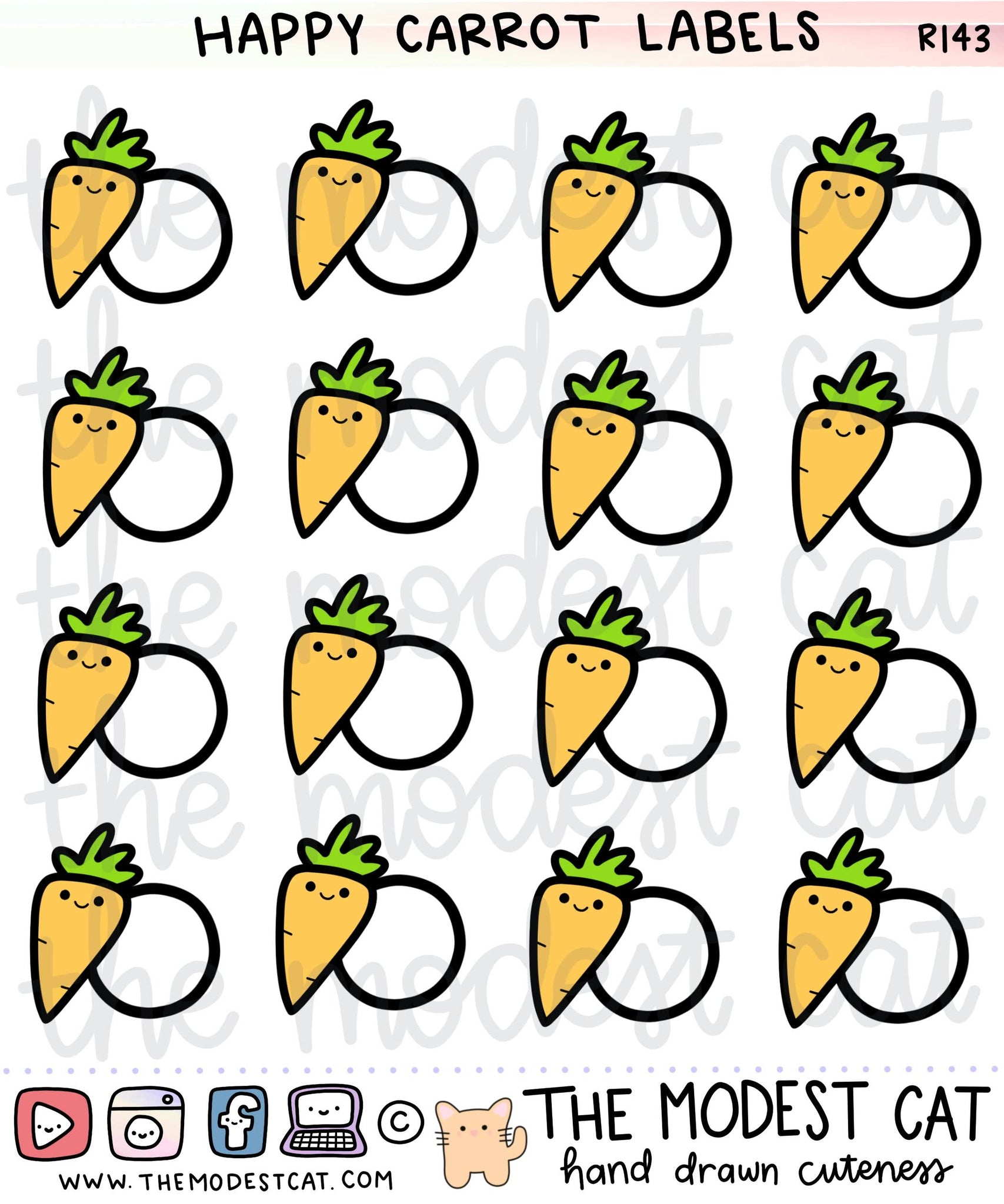Happy Carrot Labels (R143)