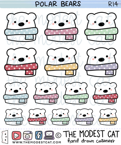 Polar Bear Deco Stickers (R14)