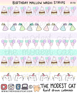 Birthday Mallow Washi Strips (R170)