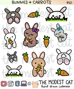 Bunnies & Carrots Deco Stickers (R52)
