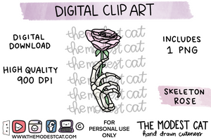 Skeleton Rose - Digital Clip Art