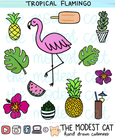 Flamingo tropical pineapple summer theme stickers