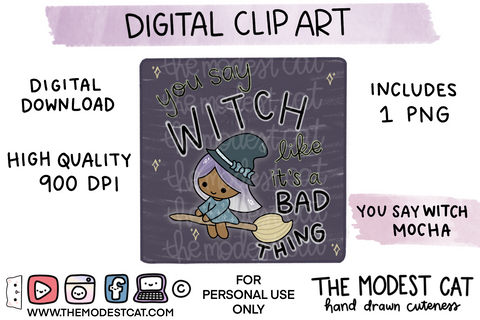 You Say Witch Mocha - Digital Clip Art