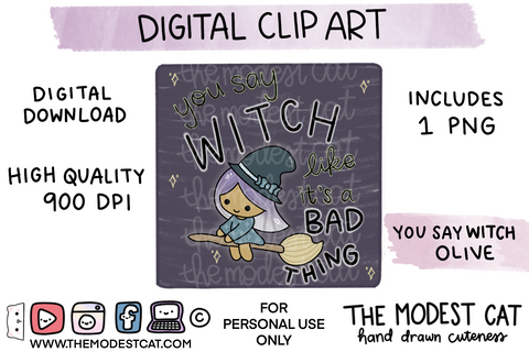 You Say Witch Olive - Digital Clip Art