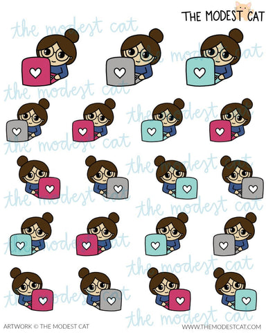 Work & Study Customizable Bella with Laptop Stickers (R38)