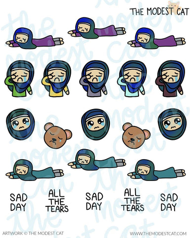Sad Hijabi Bella Customizable Multicultural Deco Stickers (R22)