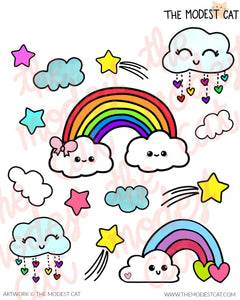 Rainbow clouds & shooting stars Deco Stickers (R18)