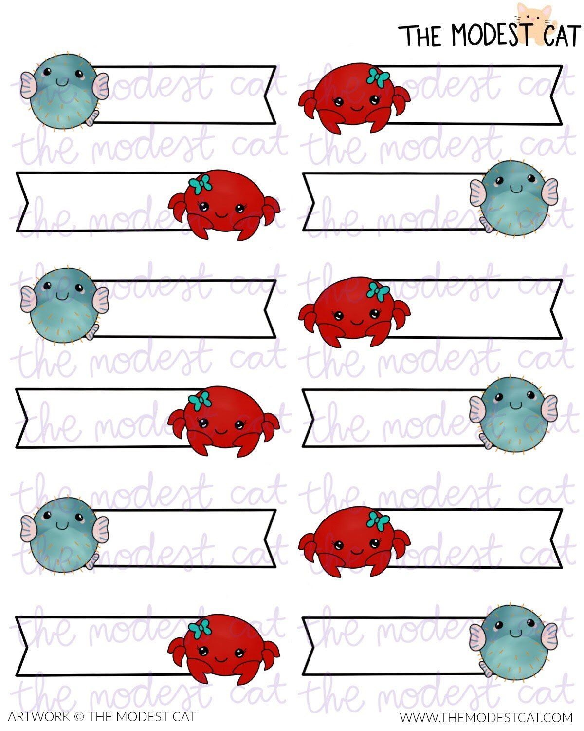 Crab & Puffer Fish Label Stickers (R55)
