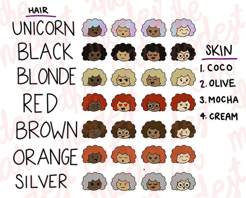 Curly Hair Multicultural Emoji Planner Stickers (R56)