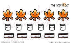 Mini sheet - Campfire Marshmallow Smores Stickers (M3)
