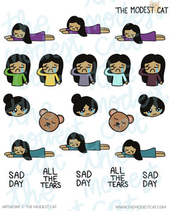 Sad Bella Customizable Multicultural Deco Stickers (R23)