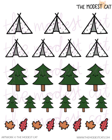 Camping tents, Forest trees & Leaves Stickers (R24)