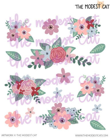 Winter Floral Deco Stickers (R36)