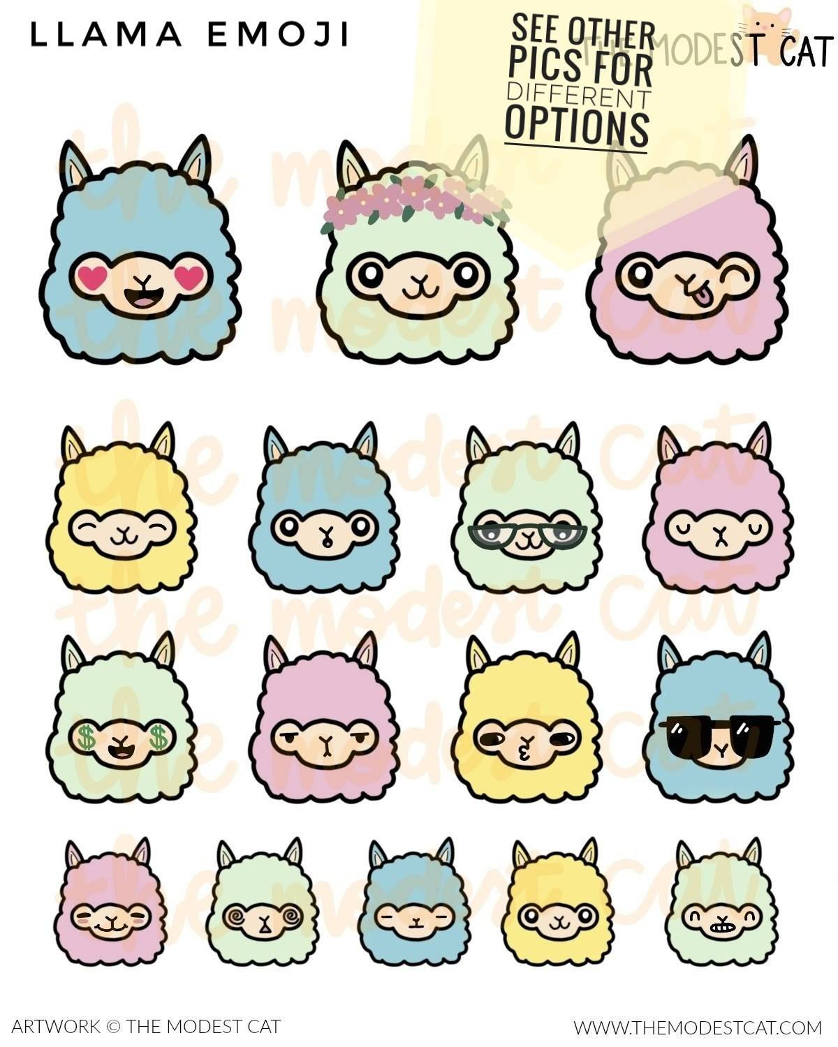 Colorful Llama Deco Stickers (R44)