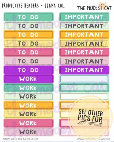 Colorful Planner Header Stickers (R45)