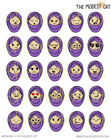 Hijabi Emoticon Stickers (R105)