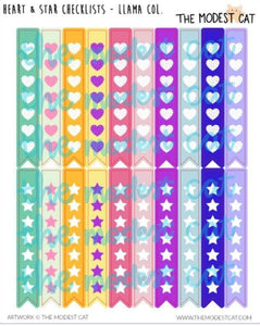 Heart & Star Checklist Llama Collection (R101)