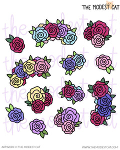Colorful Rose Stickers (R47)