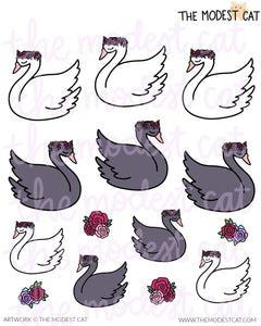Swans & Flowers Deco Stickers (R28)