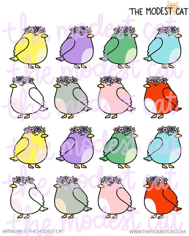 Flower Crown Birds Deco Stickers (R86)