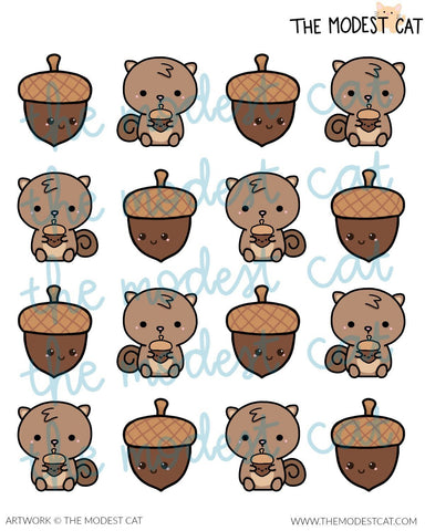 Squirrels & Acorns Deco Stickers (R76)