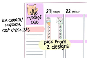 Ice Cream or Popsicle Cat Checklists (R107)
