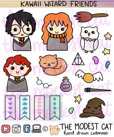 Kawaii Wizard Friends Deco Stickers (R113)