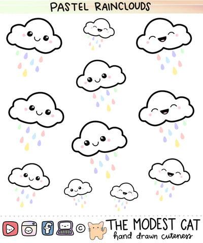 Pastel Raincloud Deco Stickers (R68)