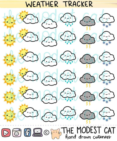 Weather Tracker doodle stickers (R33)
