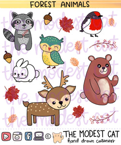 Forest Animals (R88)- Hand Drawn Fall Forest Cuties Deco Stickers