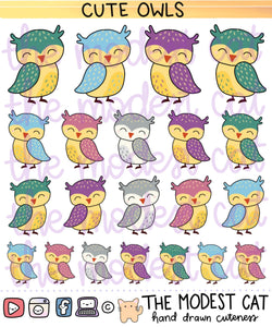 Colorful Owls Deco Stickers (R43)