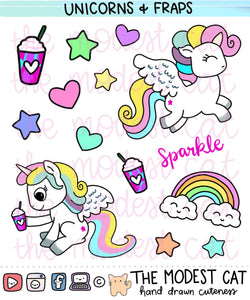 Unicorns & unicorn frap Deco Stickers (R30)