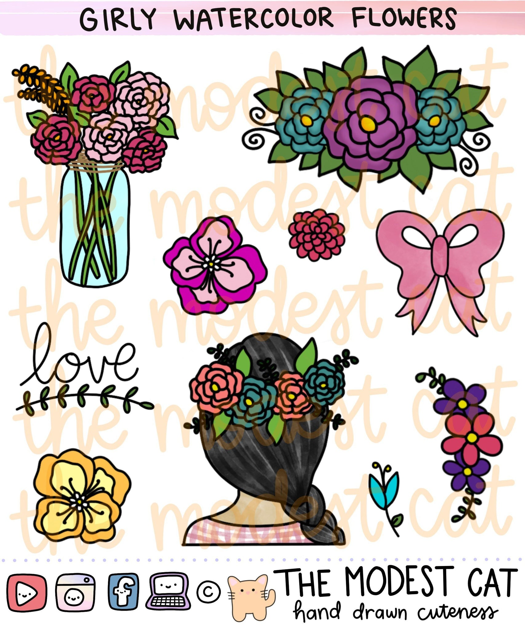 Girly watercolor flower Deco Stickers (R94)