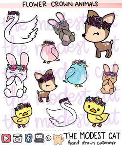 Flower Crown Animal Friends Deco Stickers (R59)