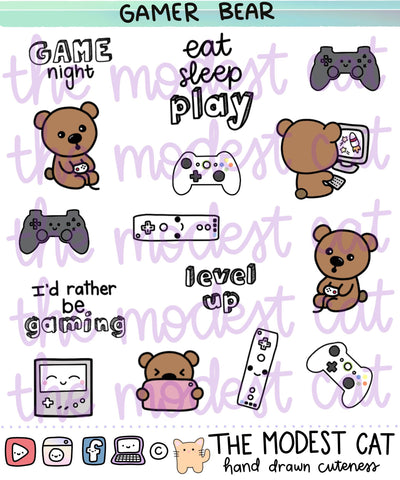 Gamer Bear Deco Stickers (R93)