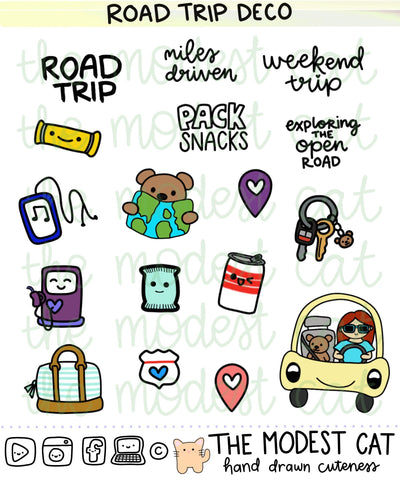 Kawaii Road Trip Deco Stickers (R112)