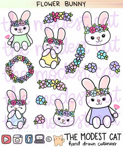Flower Bunny Deco Stickers (R85)