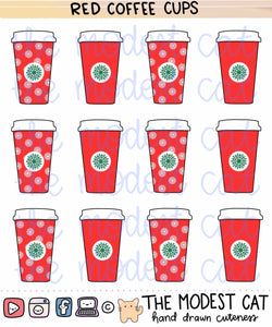 Red Coffee Cups Deco Stickers