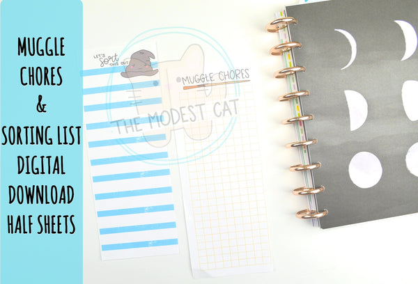 Muggle Chores and Sorting List Planner Half Sheets - Printable To Do Lists - Instant Digital Download