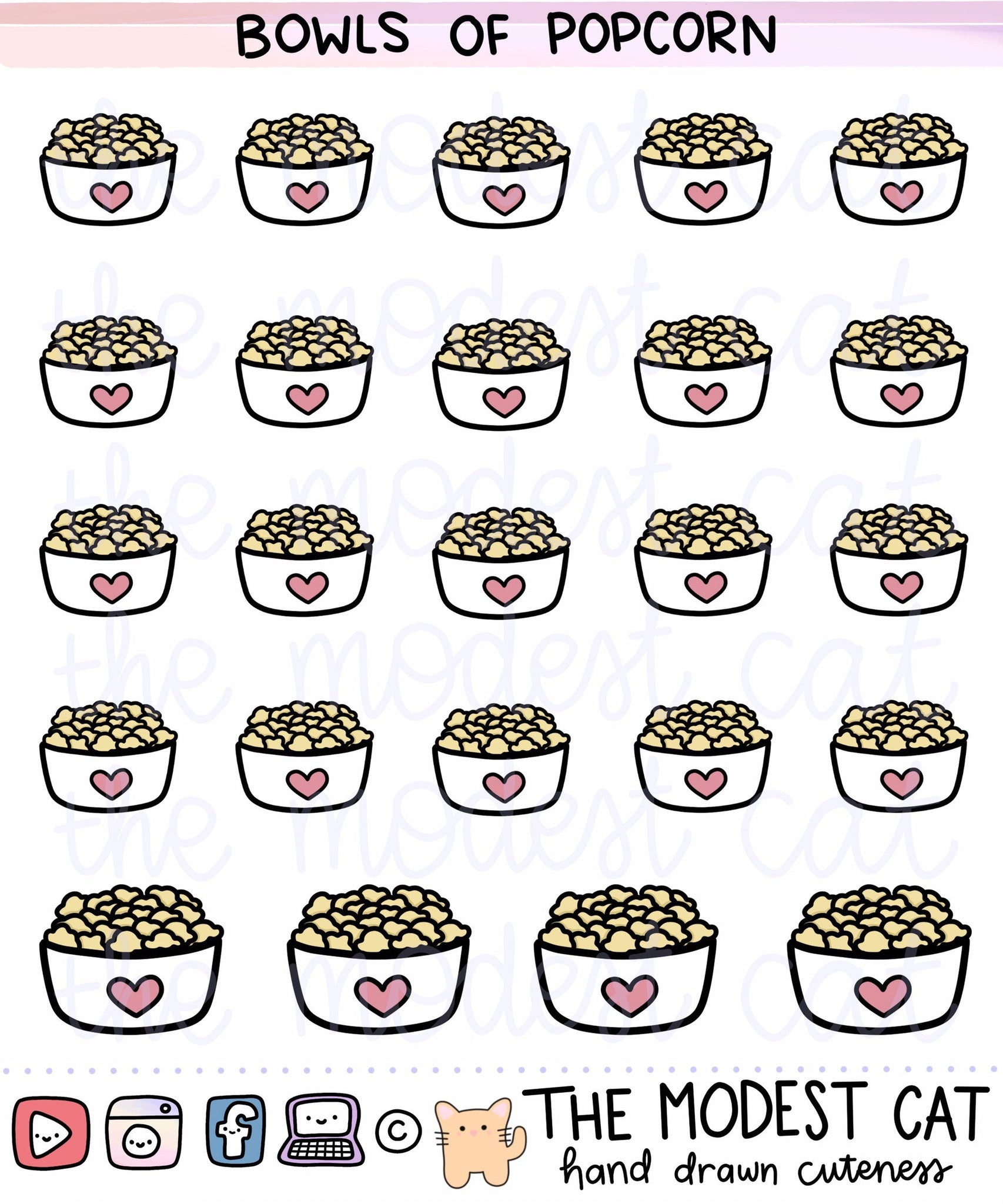 Bowls of Popcorn deco stickers (R82)
