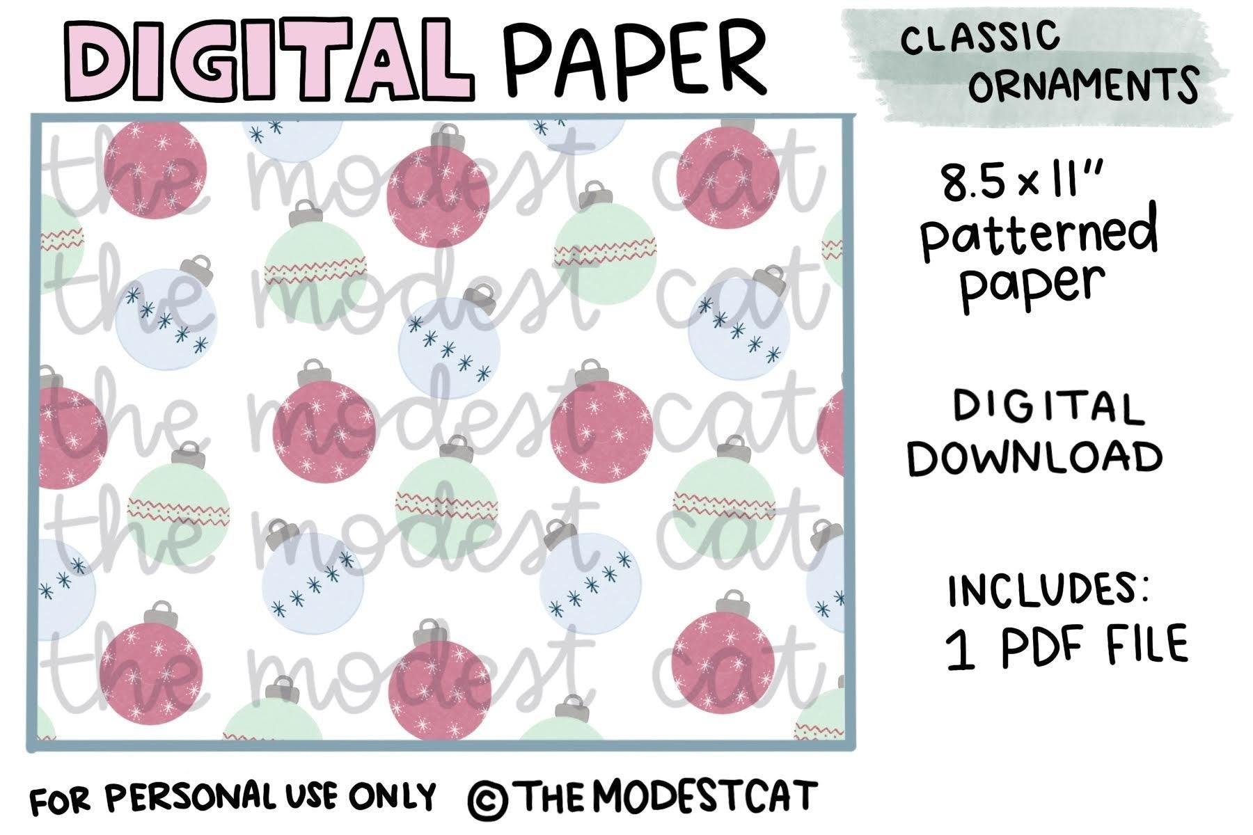 Christmas Ornaments Patterned Paper - Digital Download