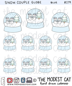 Blue Snow Couple Globe Deco Stickers (R279)