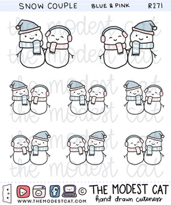 Blue & Pink Snow Couple Deco Stickers (R271)